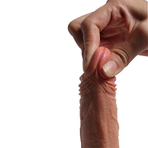 Pure Zwei-Layer-Silikon Dildo Soft Outside und Firm Inside Penis mit starken Saugnapf Real Dong Penis Nachbildung, 18 cm lang Ø3.8 cm (SKIN) - 4
