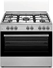 Veneto 90 X 60 cm 5 Gas Burners, Free standing Electric oven Cooker, Stainless Steel - P3X96E5VC.VN, 1 Year Wa