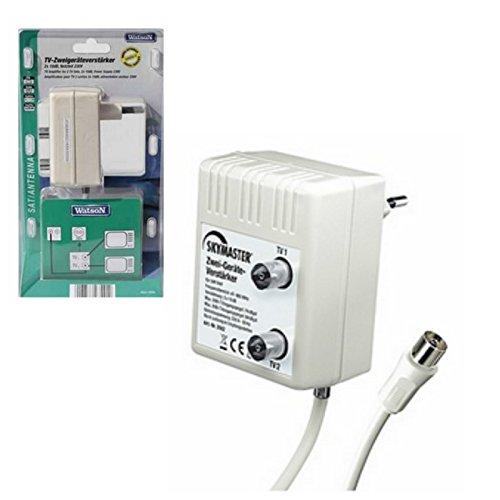 Watson Antennen ZweigeräteVerstärker für DVB-T + Kabel TV + Radio DVB-T UHF WHV Verteilverstärker | 2 Geräte-Verstärker | optimale Signalverstärkung von 2× 10 dB Verstärker Verstärkung Fernsehen Fernseher