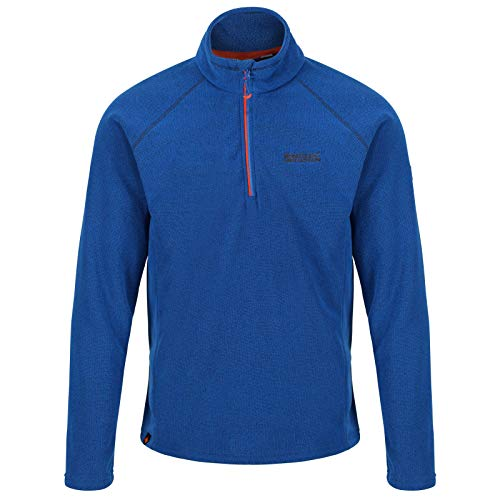 Regatta da uomo kenger half-zip a nido d' ape in pile, uomo, rma307, oxford blue/blaze orange, m