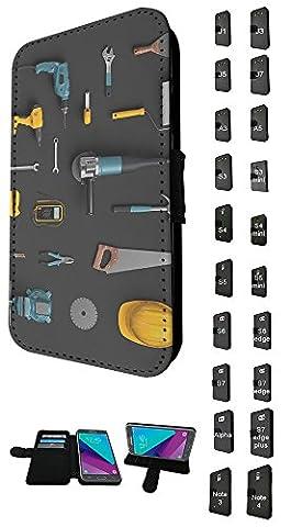 003599 - Hand Tools Wrench Drill Saw Pliers Design Samsung Galaxy A5 A500M - 2015 TPU Leder Brieftasche Hülle Flip Cover Book Wallet Credit Card Kartenhalter Case