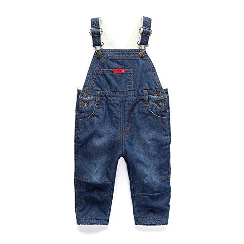 [Baby Gefütterte Jeanslatzhose Winter] Verdickte Latzhose mit Samt Warm Winterhose Baby Kleinkind Jungen Mädchen Jeanshose Baumwolle Tasche Jeans...