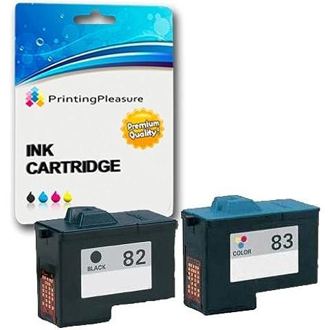 2 Cartucce d'inchiostro compatibili per Lexmark X5100, X5130, X5150, X5190, X5200, X6100, X6150, X6170, X6190 Pro, X65, Z55, Z55se, Z65, Z65n, Z65p / Sostituzione per Lexmark No. 82 & No. 83