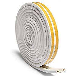 OUTERDO Rubber Seal Foam Tape Foam Seal Strip,(5 Meters x2)D Type Self Adhesive Home Window Door Draught Rubber Excluder Soundproofing Avoidance Rubber Weatherstrip White (10 Meters after being divided into 2 Seals)