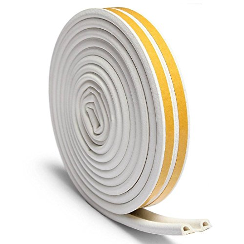 OUTERDO Rubber Seal Foam Tape Foam Seal Strip,(5 Meters x2)D Type Self Adhesive Home Window Door Draught Rubber Excluder Soundproofing Avoidance Rubber Weatherstrip White (10 Meters after being divided into 2 Seals) Test