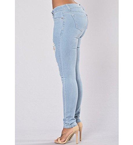 Jeans Donna Strappati Skinny Vita Bassa Jeans Pantaloni Classici Colore Chiaro Elastici Casual Bleu