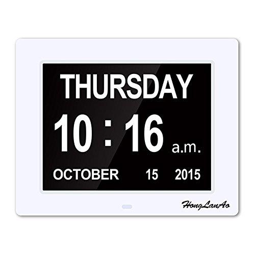 Orologio da tavolo con calendario | Orologio per persone che soffrono di Alzheimer | Orologio per anziani | Extra Large Non abbreviato-Day & Mese, Digital Orologio Aggiornato - (Bianco)