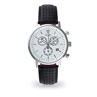 Detomaso Milano Hombre Reloj de Pulsera analógico Cuarzo silbernes Caja de Acero Inoxidable Esfera Blanca