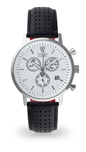 DETOMASO MILANO Herren-Armbanduhr Analog Quarz silbernes Edelstahl-Gehäuse weißes Zifferblatt (Leder - Schwarz)