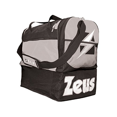 Zeus Herren Sporttasche Schultergurt Umhängetasche BORSA GAMMMA 52X52X36 cm (SCHWARZ-ROT) SCHWARZ-GRAU
