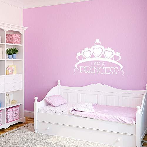 YuanMinglu Prinzessin Crown Vinyl Wand Prinzessin Mädchen Raumdekoration abnehmbare Vinyl Wandbild Babyzimmer Wandaufkleber 63 cm x 42 cm -
