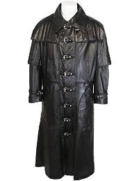 UNICORN Hommes Gothique toute la longueur Réel en cuir Manteau Veste Noir #C4