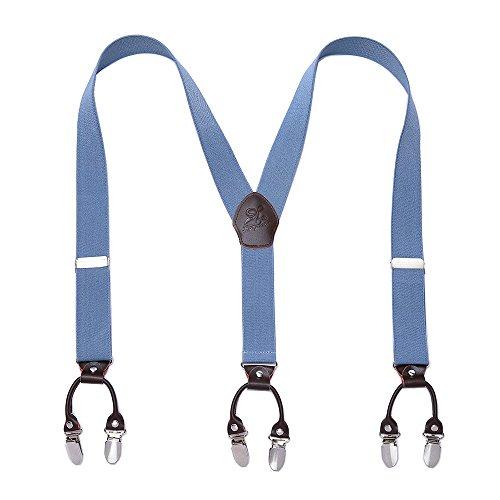 Heavy Duty Men Braces KANGDAI 6 Buckles Y Zurück 10 Farben Durable Elastic Verstellbare Hosenträger Starke Metall Clips (Blau)