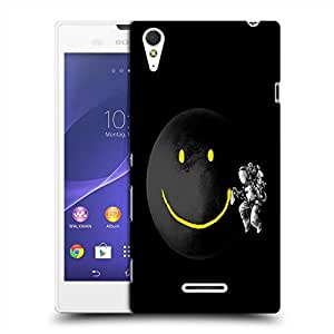 Snoogg Smile Black Moon Designer Protective Back Case Cover For SONY XPERIA T3
