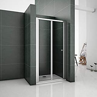 Aica Chrome 900mm Bifold Shower Enclosure Toughened Glass Door Panel, Metal 90 x 2.6 x 185 cm
