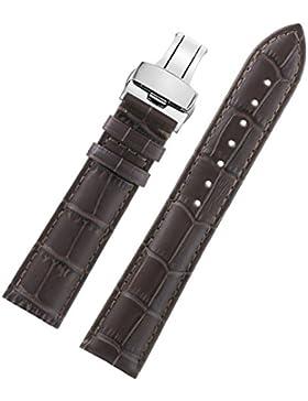 23mm dunkelbraun High-End-Herren-Lederarmbänder Silber Faltschließe mit schwarzen Naht mittlere Polsterung dauerhaft...
