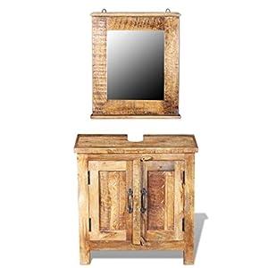 vidaXL Mueble de Lavabo con Espejo Madera de Mango Maciza Set Tocador de Baño