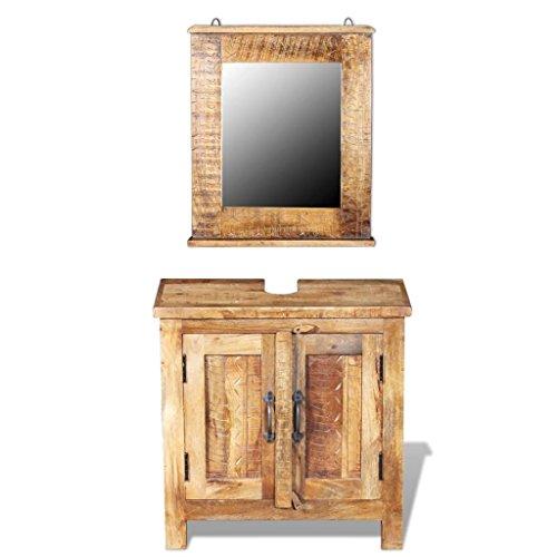 Vidaxl armadietto mobili arredo da bagno vanity con specchio legno massello