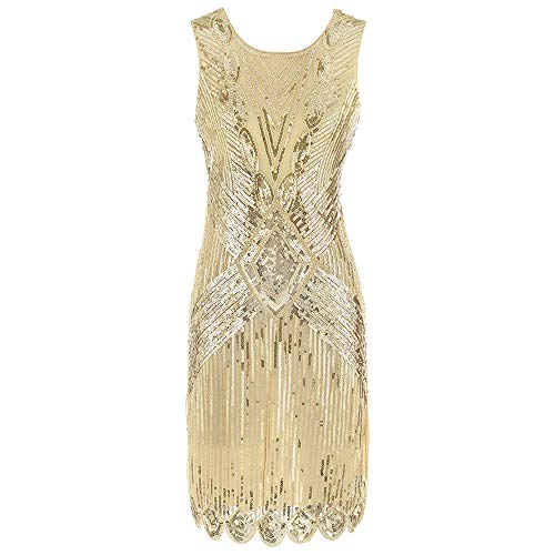 Gatsby Kleid Damen Retro 1920er Pailletten Perlen Art Deco Scalloped Saum Inspiriert Flapper Kleid Party Damen Kleid,Gold,M Scalloped Gold