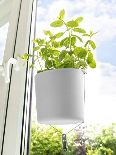 CV Kräuter-Topf 2 Stück Kräuter-Garten Blumentopf Weiss zum Einhängen am Fenster-Rahmen