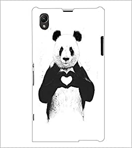 PrintDhaba Bear with Heart D-1469 Back Case Cover for SONY XPERIA Z1 (Multi-Coloured)