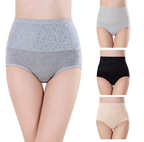 Taille Slip (Misolin Damen Slips Baumwolle Panties Hoher Taille Unterhosen Taillenslip Gemütlich Unterwäsche Schwarz/Grau/Beige 3er Pack Tag 2XL (EU 40-42))