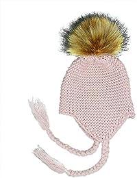 Milopon Bady Gorro Sombrero De Invierno Niño Niña Algodón Calientes Stricken Esquí Caps Gorro para Bebé Niños Nieve Invierno Gorro pompón (Rosa)