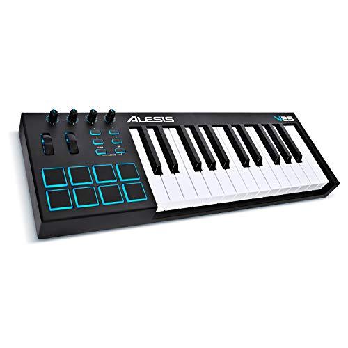 Alesis V25 - Tragbarer 25-Tasten USB-MIDI Keyboard Controller mit 8 hintergrundbeleuchteten Pads, 4 zuweisbaren Encodern und einem professionellen Softwarepaket inklusive Pro Tools | First