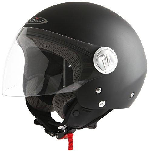 Scotland Casco da Moto/Scooter con Visiera Lunga, Nero Opaco, 59-60 (L)