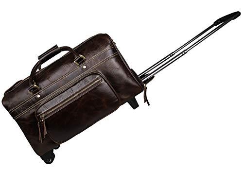 SHINING KIDS Business Trolley Case Original Leder 2 Radkoffer Herren Handtasche Braun -