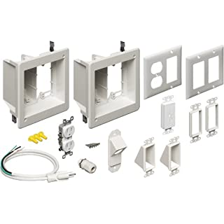 Arlington TVBR2505K-1 Flat Screen TV Recessed Kit with Outlet and Wall Plates, 2-Gang, White, 1-Pack
