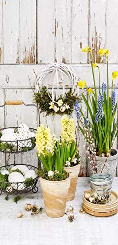 r Frühling Blumen Deko Banner Spring Garden Poster Stoff 90 x 180 cm Ladendeko ()