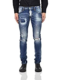 431aaf88de2 Dsquared2 Slim Jeans Patches Hombre - Talla  52 - Color  Azul - New