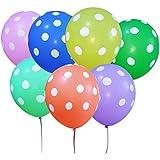 100 Palloncini Puntino dot Balloons Vivaci Colori Assortiti 30CM Pacco da 100,contenere 1 × sacchetto di immagazzinaggio + 2 × Rotoli di Tie nastri +1 × mini gonfiatore