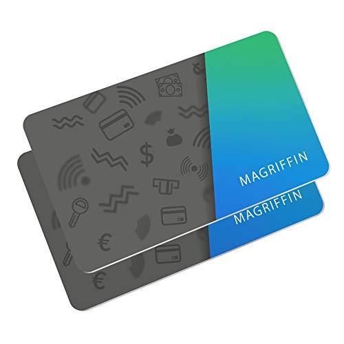 2 Stück RFID Blocker Karte | Nur 0.7MM, Weltweit Dünnste | Kreditkarte EC-Karte Bankkarte Störsender NFC Kontaktloser Schutzkarte | Doppelt Schutz für Portemonnaie