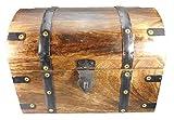 Holzspielerei Schnitzereien 1 Kaufmannstruhe ca. 28 x 21 x 21 cm, ca. 2730 Gramm Mangoholz Holz Truhe Geschenk Deko 73680-S klein