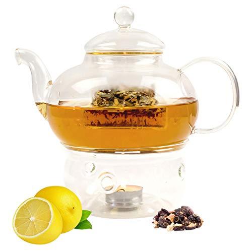 Lantelme Teekanne mit Stövchen Teefilter Set Glas 1 Liter Tee Glaskanne Filter Deckel Teebereiter Kanne 6837
