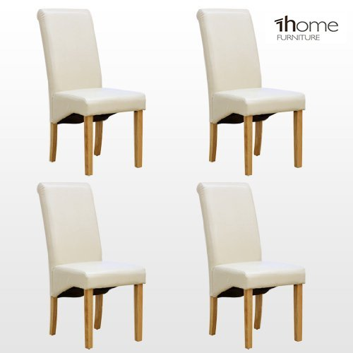 1home 4 x Leather Ivory Dining Chair w Oak Finish Wood Legs Roll Top High Back