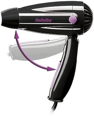 BaByliss 5250E - Secador de pelo de viaje plegable (1200 W), color negro/ rosa
