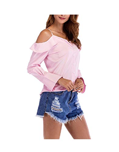 CuteRose Womens Pure Color Puff Sleeve V-Neck Shirt Sling Blouse T-Shirt Top Pink S -