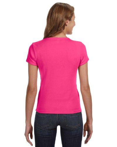 Amboss 1441Damen-Short Sleeve 1x 1Rib Scoop Neck T–Shirt hot pink