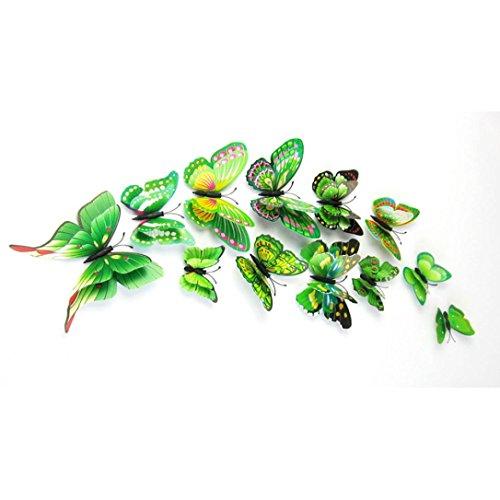 Bovake 12x 3D Schmetterlings-Wand-Aufkleber Kühlschrankmagnete Raum-Dekor-Abziehbild-Applique (Green) -
