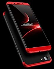 Cool & Creative Full Body 3-in-1 Slim Fit Complete 3D 360 Degree Protection Hybrid Hard Bumper Back Case Cover for Oppo A83 (Black and Red)