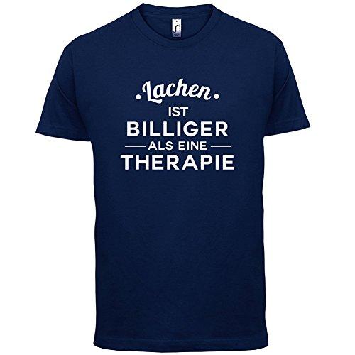 Lachen ist billiger als eine Therapie - Herren T-Shirt - 13 Farben Navy