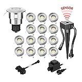 parlat LED Boden-Einbauleuchte Atria mit Dämmerungssensor für außen Aluminium warm-weiß, je 14lm, IP65, 40mm Ø 15er Set