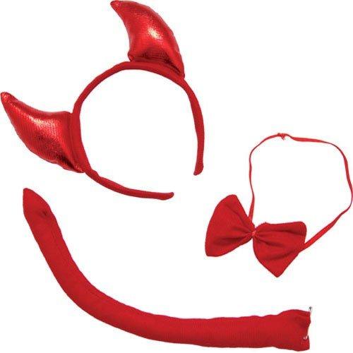 P' tit Clown 60125Kit di diavolo-Cerchietto-Coda e fiocco farfalla-Rosso