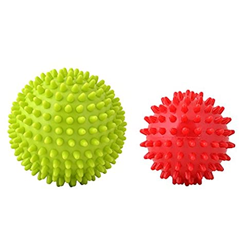 Spiky Massage Ball PVC Hard Stress Massage Ball for Acupressure Plantar Fasciitis Reflexology Stress Therapy and All Over Body Deep Tissue Muscle Therapy 2 Pack (Green Red)