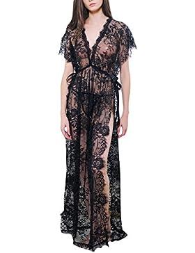 BELLA-Lingerie Vestito Lungo Donna Camicia da Notte con Lace Estate