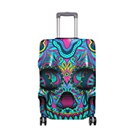 Colorful Skull Painted Suitcase Luggage Cover Protector for Travel Kids Men Women fit 22-24IN
