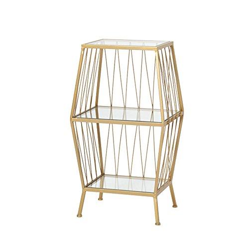 Glas Metall-beistelltisch (Lagerregal ZHIRONG Sofa Beistelltisch Geometrische Gehärtetem Glas + Metall Eisen Schlafzimmer Nachttisch Couchtisch Golden/Schwarz (Farbe : Gold))